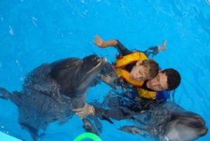 Дельфины специально обучены и не причинят вреда маленьким пациентам